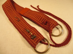 Weaving belt rust colored back side